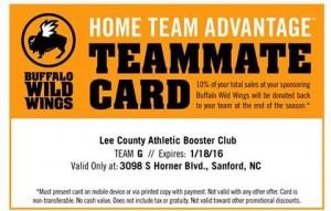 BWW Fundraiser Card Lee County High